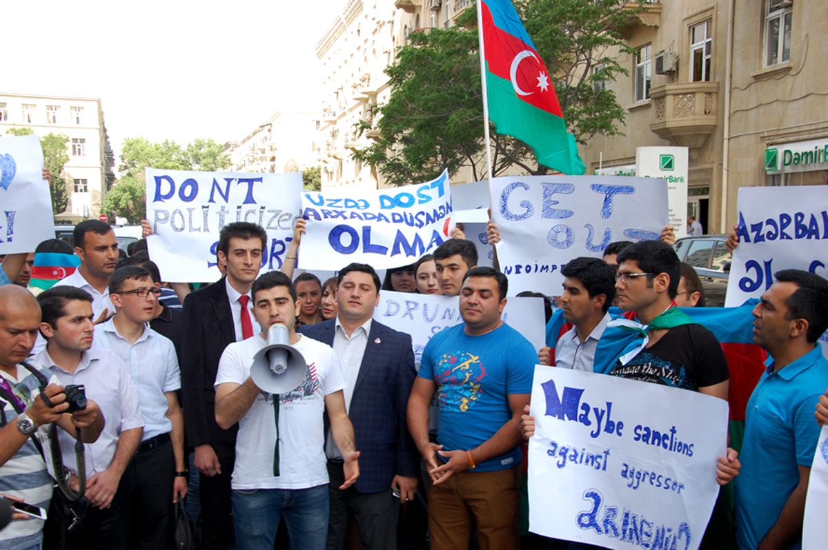 Rally held in front of British embassy in Azerbaijan