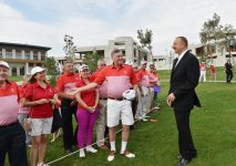 Azerbaijani president, his spouse attend opening of school complex and Golf Club - Gallery Thumbnail