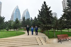 President Aliyev attends opening of new roads, parks, reconstructed streets in Baku - Gallery Thumbnail