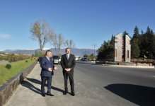 President Ilham Aliyev reviews the expansion of Yevlakh-Balakan highway - Gallery Thumbnail