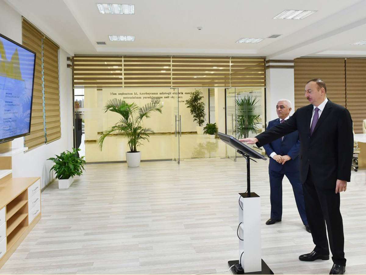 Azerbaijani president attends opening of several electrical substations in Khazar district