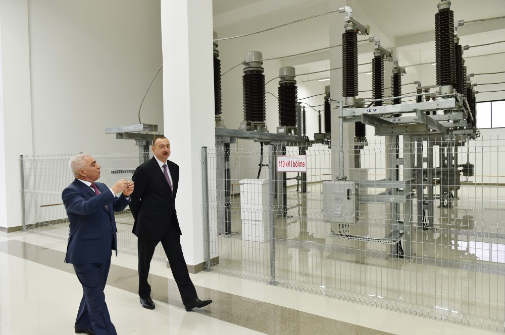 Azerbaijani president attends opening of several electrical substations in Khazar district - Gallery Image