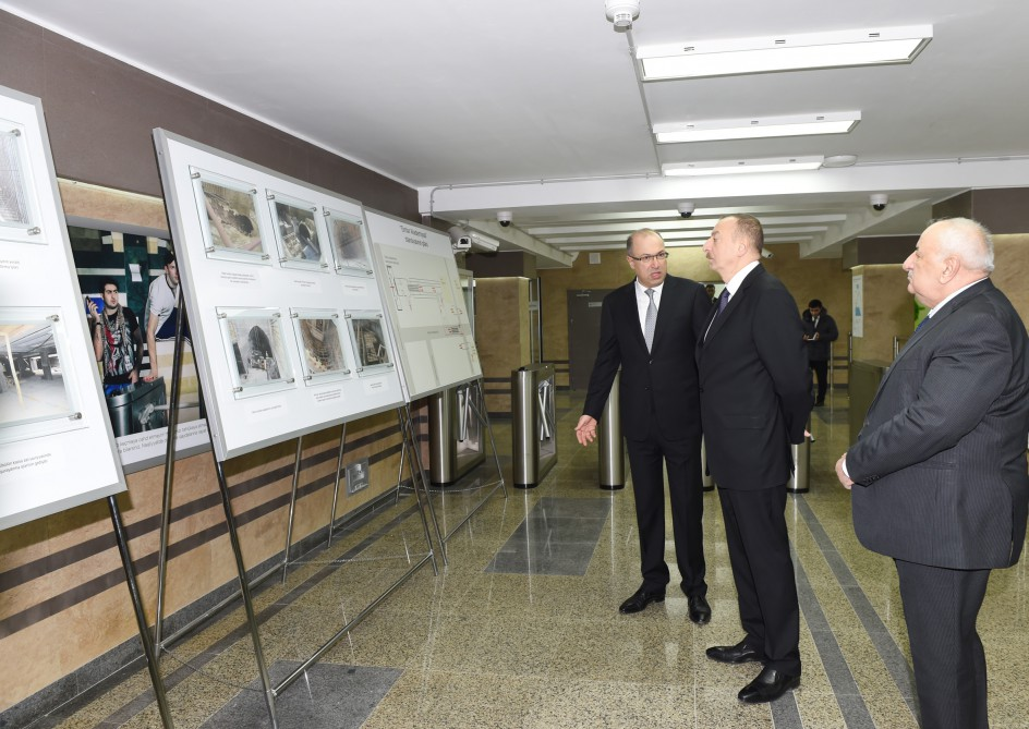 President Aliyev attends opening of expanded metro station in Baku - Gallery Image