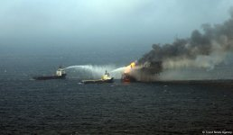 Firefighting underway at faulty platform in Caspian (PHOTO) - Gallery Thumbnail