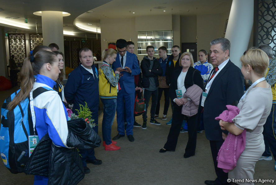 First Secretary of Ukraine's Embassy meets athletes on the World Cup in Trampoline Gymnastics in Baku (PHOTO)