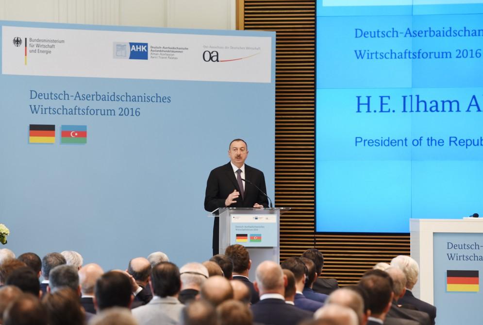 Президент Ильхам Алиев принимает участие в азербайджано-германском бизнес-форуме (ФОТО) - Gallery Image