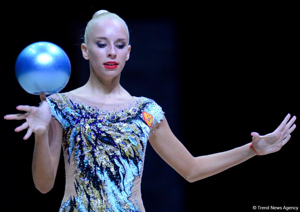 Bakıda bədii gimnastika üzrə Dünya Kuboku yarışlarının ilk günü (FOTO) - Gallery Image