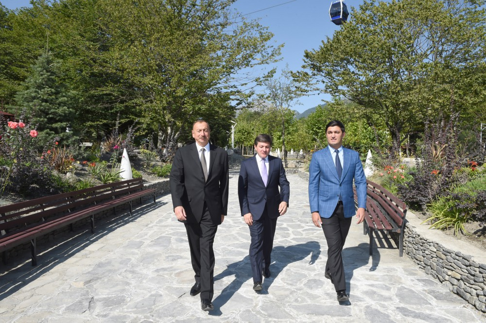 """President Aliyev attends opening of """"Gabala"""" Park and Boulevard Complex after reconstruction (PHOTO)"""