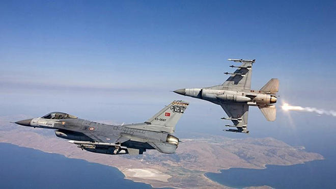 Turkish Air Force bombing PKK positions in northern Iraq