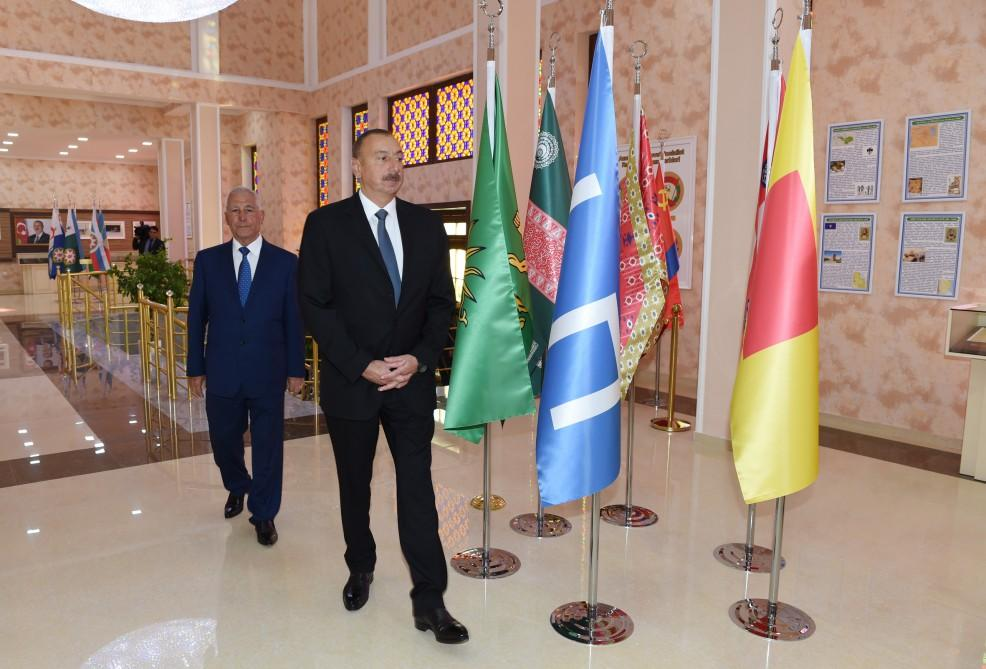 Ilham Aliyev views Flag Square and Museum in Khachmaz