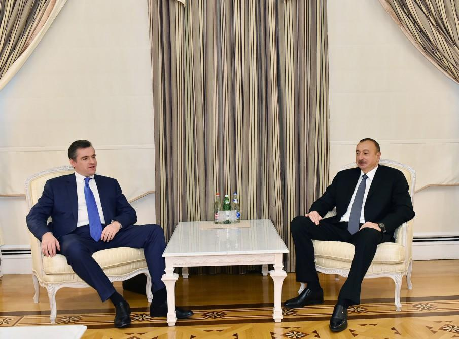 Ilham Aliyev meets head of Russian State Duma committee (PHOTO)