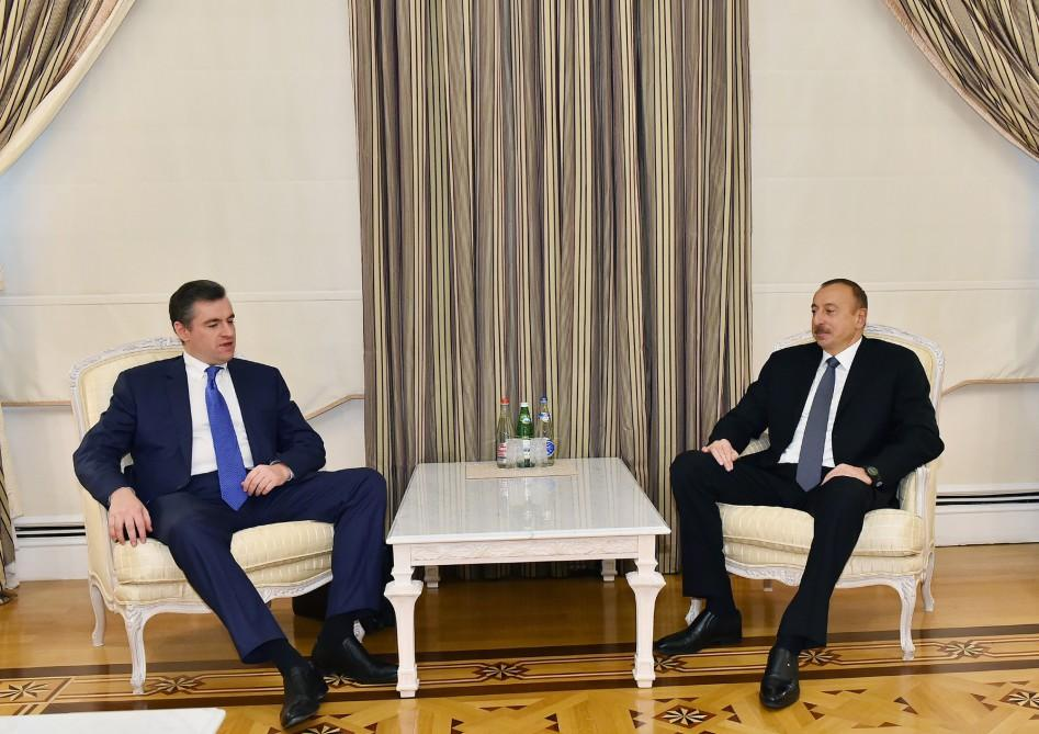 Ilham Aliyev meets head of Russian State Duma committee (PHOTO) - Gallery Image