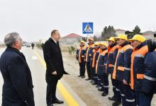 Ilham Aliyev opens renovated highway section in Surakhani (PHOTO) - Gallery Thumbnail