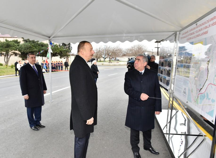 Ilham Aliyev opens renovated highway section in Surakhani (PHOTO)