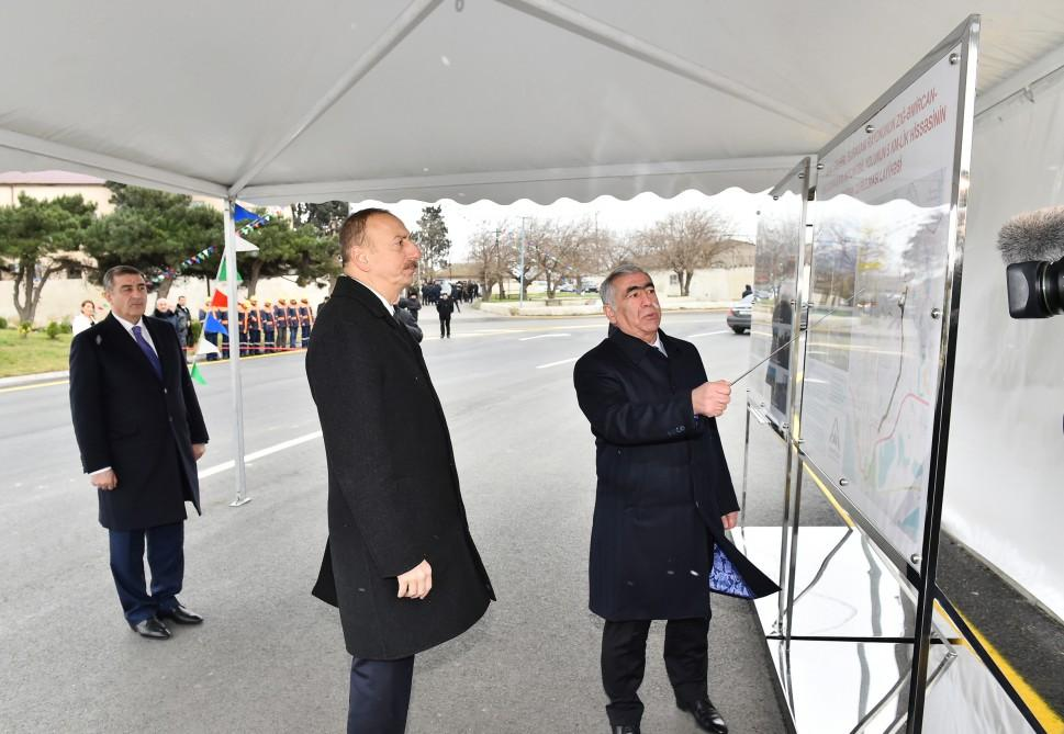 Ilham Aliyev opens renovated highway section in Surakhani (PHOTO) - Gallery Image