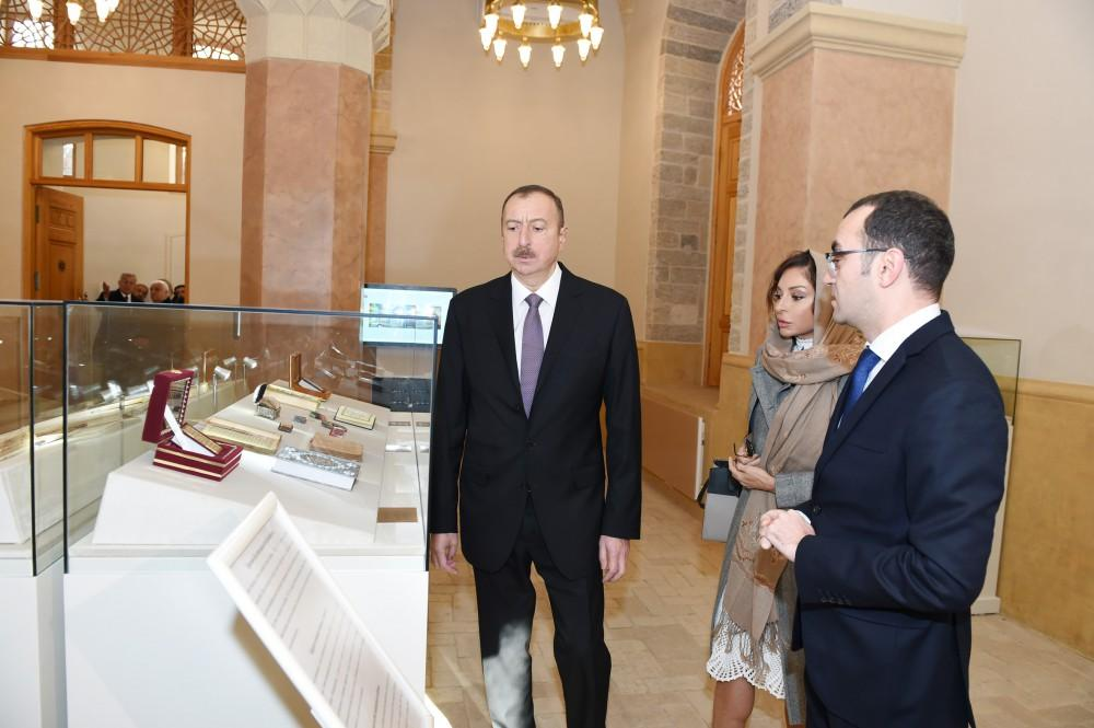 Ilham Aliyev, his spouse view renovated Baylar mosque (PHOTO)