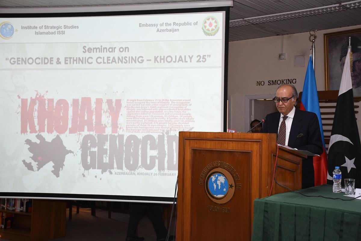 """İslamabad Strateji Araşdırmalar İnstitutunda """"Soyqırım və etnik təmizləmə: Xocalı-25"""" seminarı keçirilib (FOTO) - Gallery Image"""