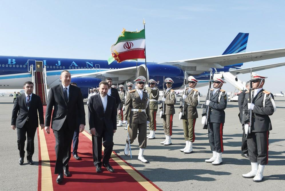 Ilham Aliyev arrives in Iran on official visit (PHOTO)