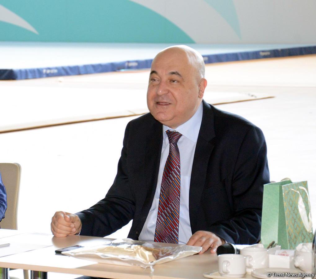 Азербайджанские гимнасты встретились с писателем Чингизом Абдуллаевым (ФОТО) - Gallery Image