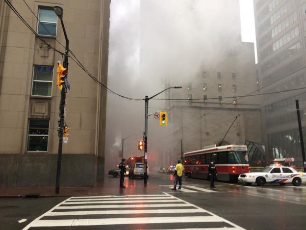 Blasts from transformer fire rock Toronto financial district