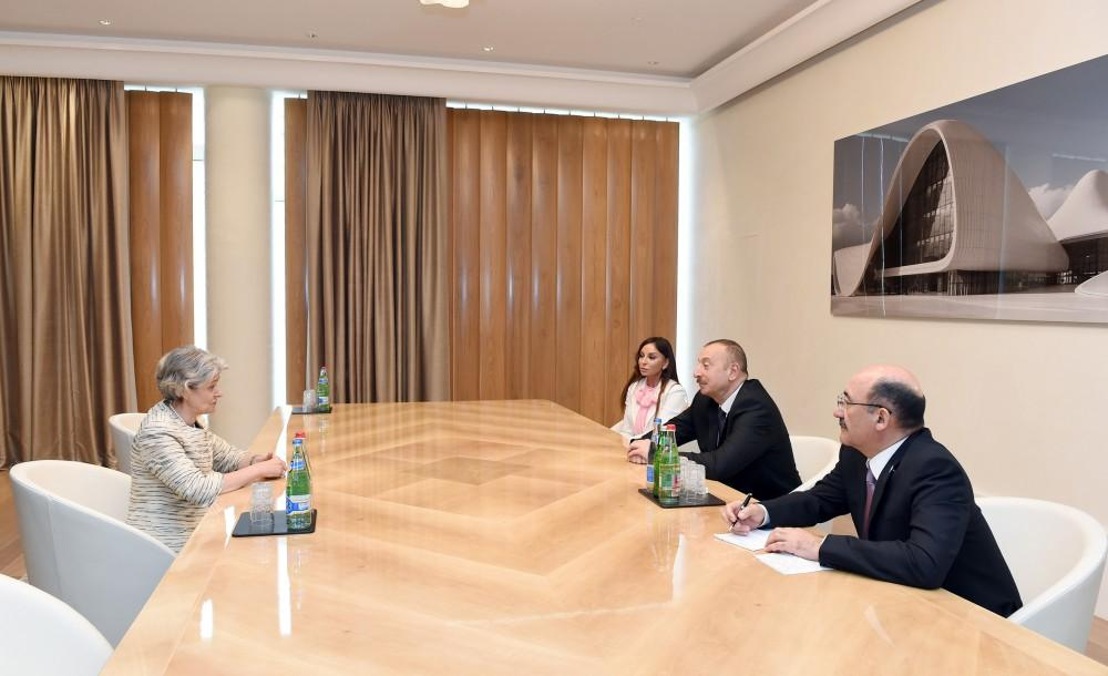 Azerbaijani president, first lady meet UNESCO director general