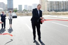 Azerbaijani president, first lady attend opening of newly-built roads in Baku (PHOTO) - Gallery Thumbnail