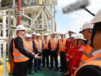 Ilham Aliyev attends sail away of first topsides unit for Shah Deniz Stage 2 platforms (PHOTO) - Gallery Thumbnail