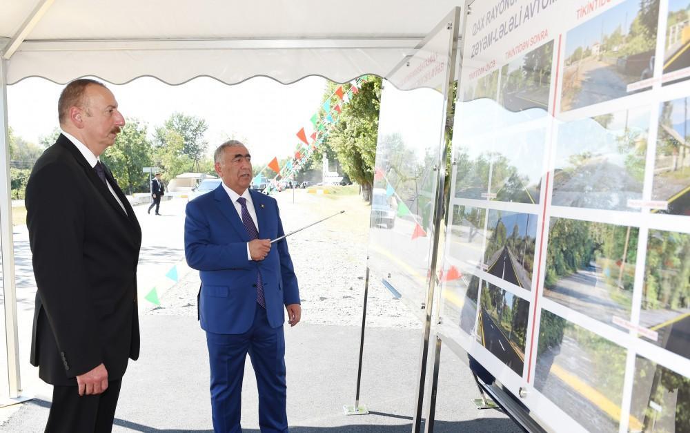 Prezident İlham Əliyev Qaxda avtomobil yolunun açılışında iştirak edib (FOTO) - Gallery Image