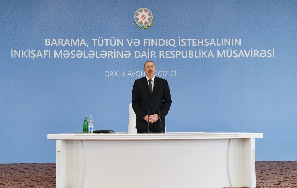 Ilham Aliyev chairs conference on development of sericulture, tobacco, hazelnut production in Gakh (PHOTO)