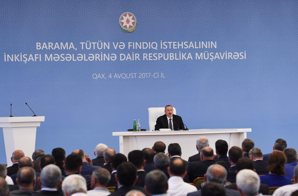 Ilham Aliyev chairs conference on development of sericulture, tobacco, hazelnut production in Gakh (PHOTO) - Gallery Image