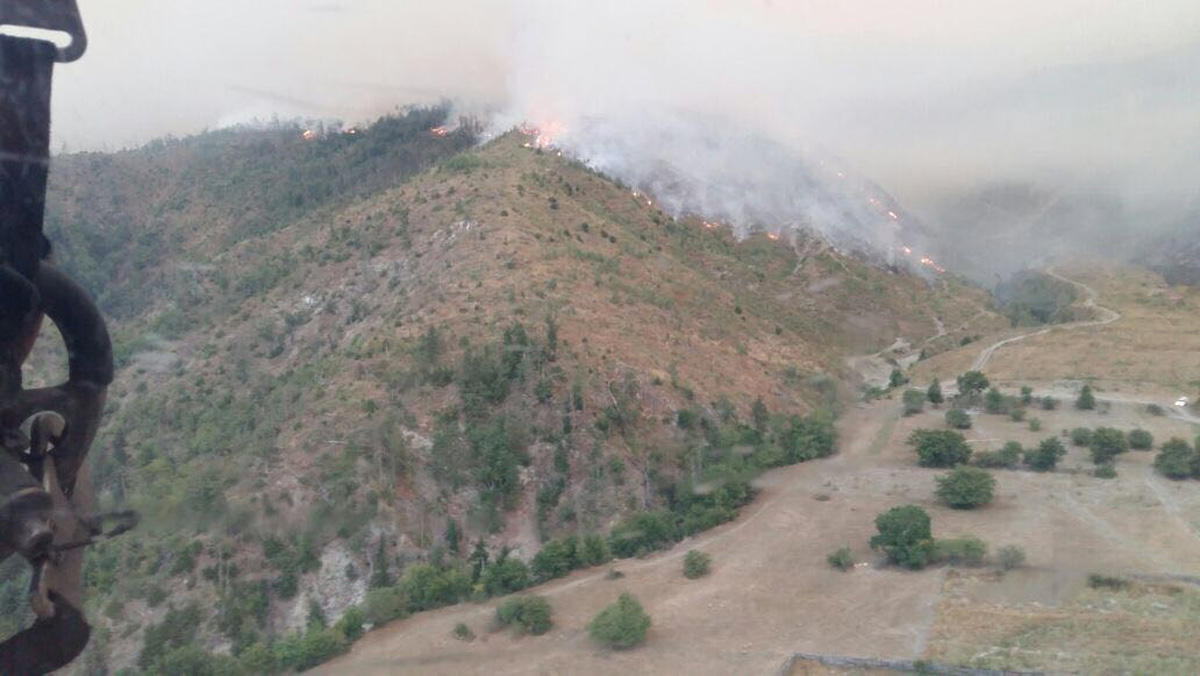 FHN-in helikopteri Gürcüstanda meşə yanğınlarının söndürülməsi əməliyyatına qoşulub (FOTO) - Gallery Image