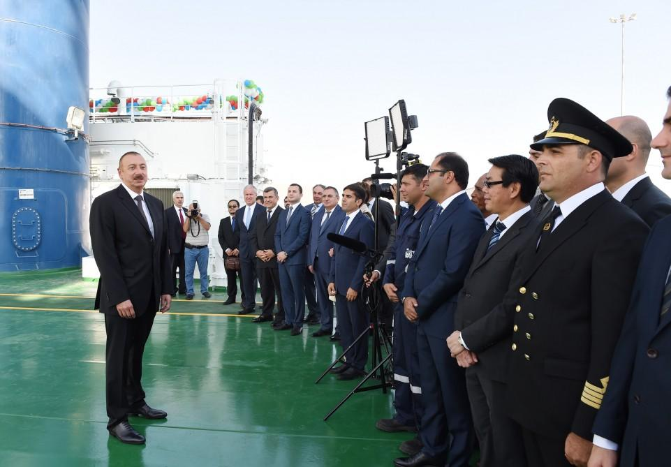 Ilham Aliyev attends launch of Khankendi subsea construction vessel (PHOTO) - Gallery Image