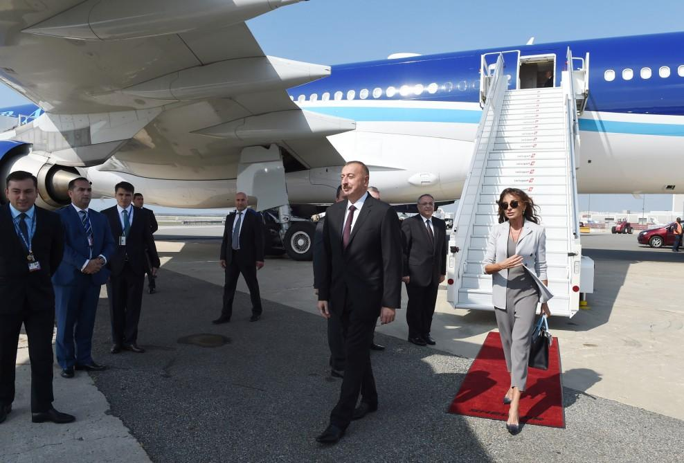 Ilham Aliyev with spouse arrive in US for 72nd session of UN General Assembly (PHOTO) - Gallery Image