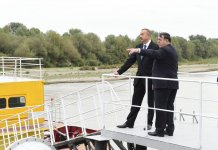 President Aliyev attends ceremony to supply water to cultivated lands of Neftchala district (PHOTO) - Gallery Thumbnail