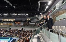 Ilham Aliyev, his spouse watched Azerbaijan-Germany volleyball match (PHOTO) - Gallery Thumbnail