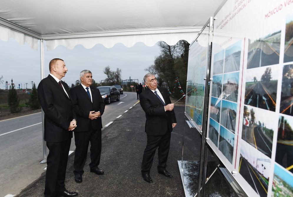 President Aliyev opens newly overhauled highway in Sabirabad (PHOTO)