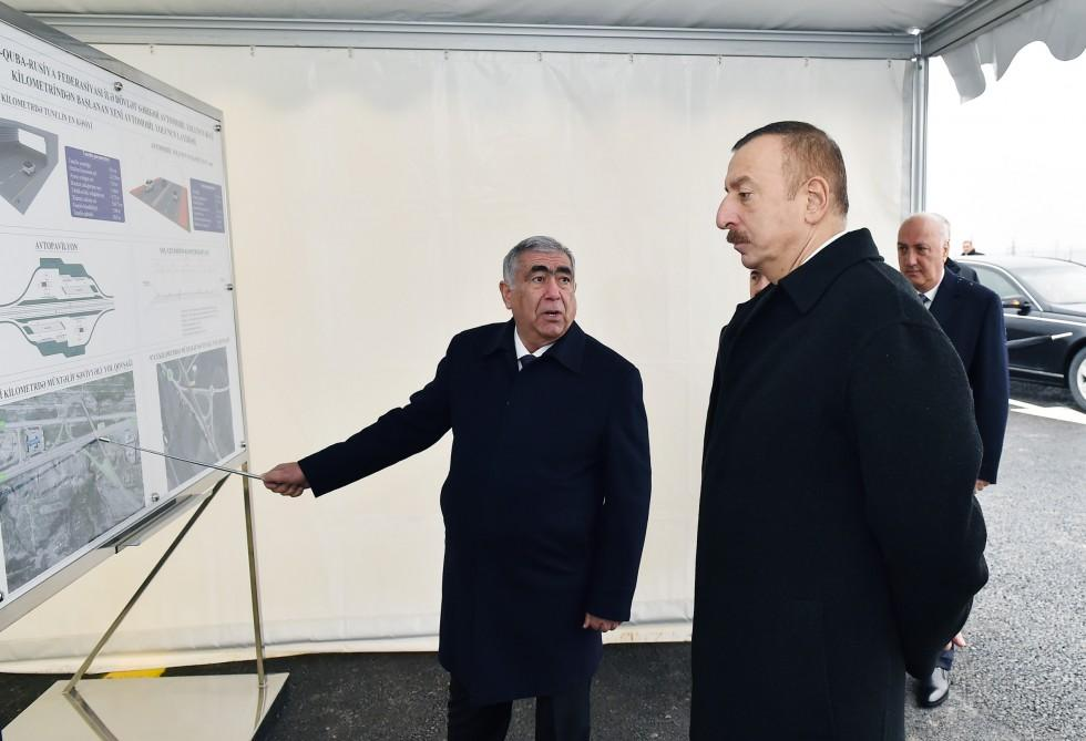 President Ilham Aliyev takes part in laying of road section on Baku - Russia border (PHOTO) - Gallery Image