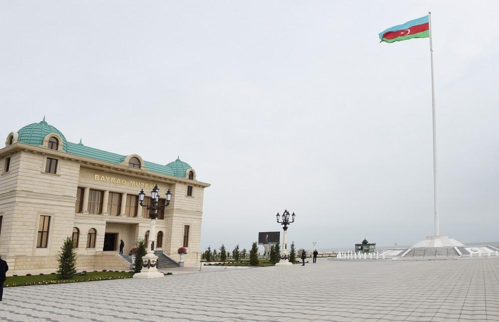 Президент Ильхам Алиев принял участие в открытии Музея флага в Сумгайыте (ФОТО) - Gallery Image
