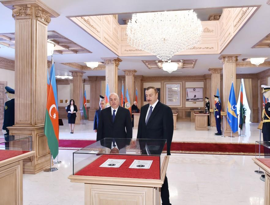 Президент Ильхам Алиев принял участие в открытии Музея флага в Сумгайыте (ФОТО)