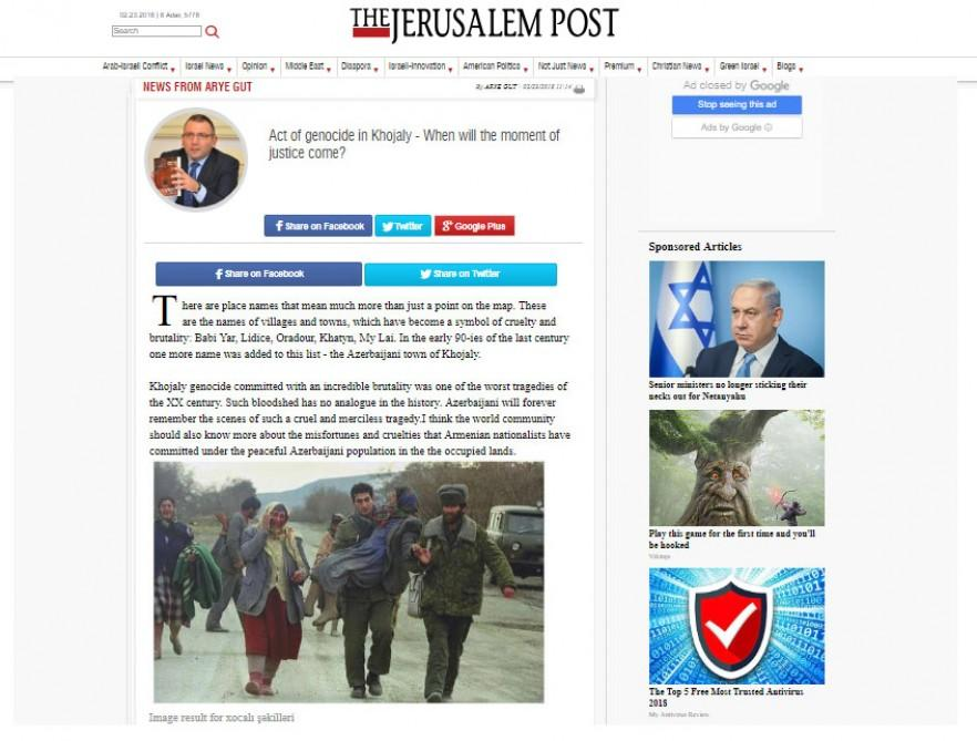 The Jerusalem Post: Act of genocide in Khojaly - When will the moment of justice come? - Gallery Image