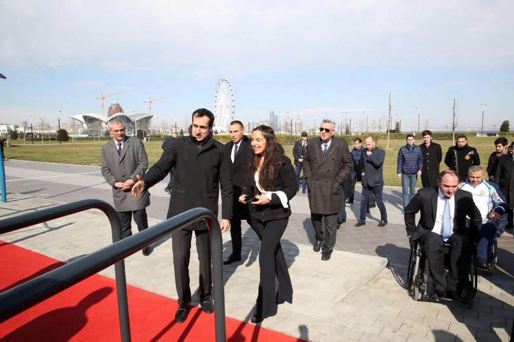 Leyla Aliyeva takes part in opening ceremony of sports ground at Seaside Boulevard (PHOTO) - Gallery Image