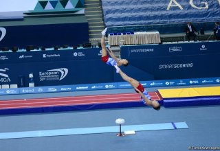 Azerbaijani gymnasts became first in synchronous jumping on trampoline at World Cup in Switzerland