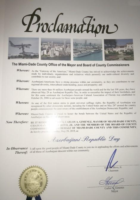 May 28 declared National Day of Azerbaijan in Miami-Dade County