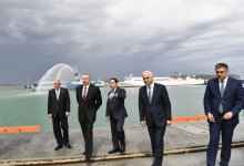 President Aliyev attends opening of Baku Int'l Sea Trade Port Complex (PHOTO) - Gallery Thumbnail