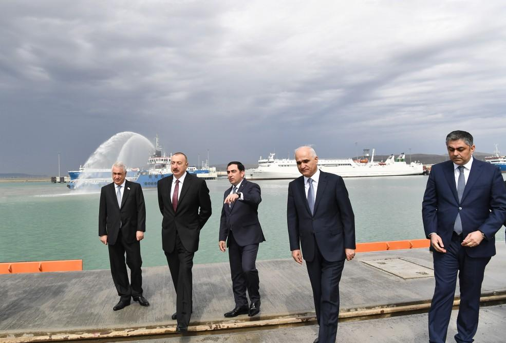 President Aliyev attends opening of Baku Int'l Sea Trade Port Complex (PHOTO) - Gallery Image