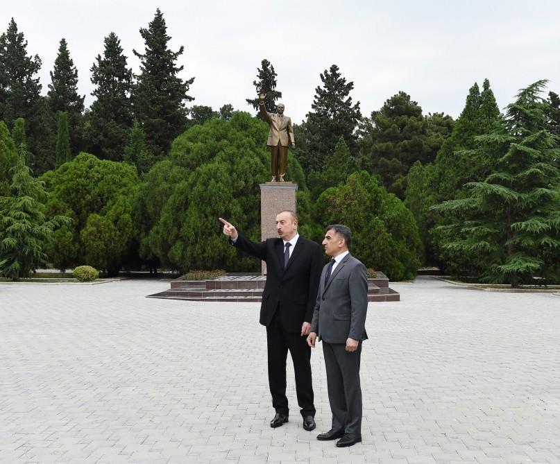 Президент Ильхам Алиев прибыл в город Нафталан (ФОТО) - Gallery Image