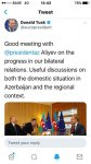 EU officials tweet about Ilham Aliyev's meeting with Donald Tusk in Brussels (PHOTO) - Gallery Thumbnail