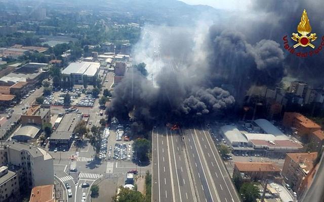 Fireball near Bologna airport after road crash explosion