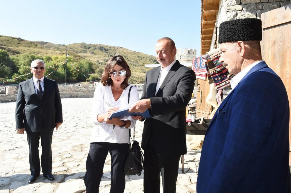 Azerbaijani president, first lady attend opening of Damirchi Archaeology Museum in Shamakhi district (PHOTO) - Gallery Image