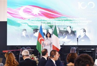 First VP Mehriban Aliyeva attends official reception on centenary of Azerbaijan Democratic Republic (PHOTO)